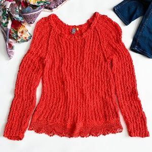 Anthropologie Knitted & Knotted Coral Red Sweater